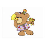cute party teddy bear with noise makers postcard