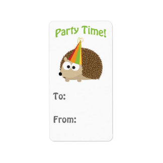 Cute Party Time Hedgehog Label