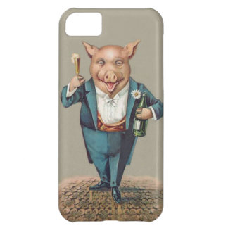 Cute Partying Pig with Champagne - Funny Animals iPhone 5C Covers