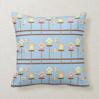 cute pastel birdies and birdhouses pattern throw pillow