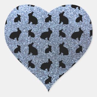 Cute pastel blue bunny glitter pattern heart sticker