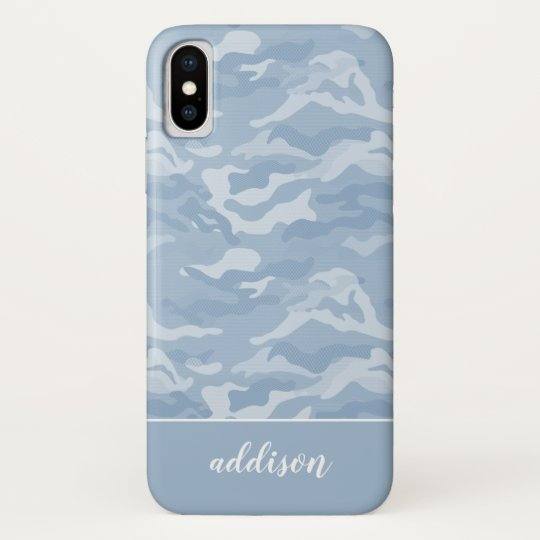 finest selection b9579 2311c Cute Pastel Blue Camo Personalized Case-Mate iPhone Case