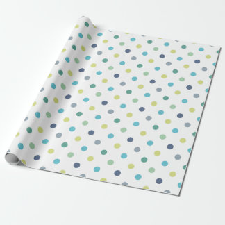 Cute Pastel Blue Green Polka Dots Wrapping Paper 1