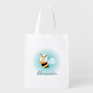 Cute Pastel Blue Green Sweet Bumble Bee Cartoon Reusable Grocery Bag