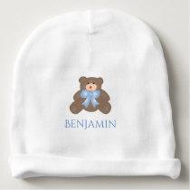 Cute Pastel Blue Ribbon Sweet Teddy Bear Baby Boy Baby Beanie