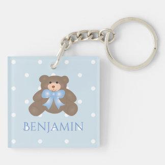 Cute Pastel Blue Ribbon Sweet Teddy Bear Baby Boy Keychain