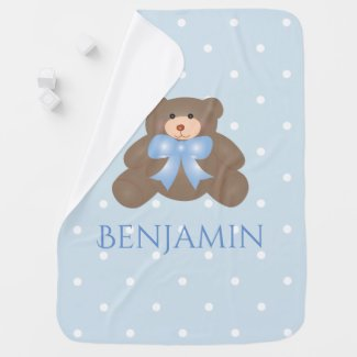 Cute Pastel Blue Ribbon Sweet Teddy Bear Baby Boy Receiving Blanket