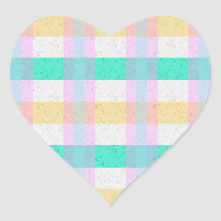 Cute Pastel Blue Yellow Teal Plaid Pattern Heart Sticker