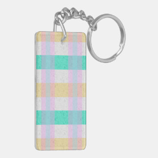 Cute Pastel Blue Yellow Teal Plaid Pattern Keychain