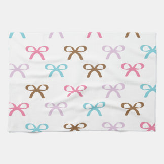 Cute Pastel Bows Chocolate Pink and Blue Towel