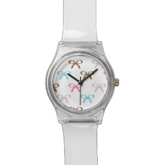 Cute Pastel Bows Chocolate Pink and Blue Watch