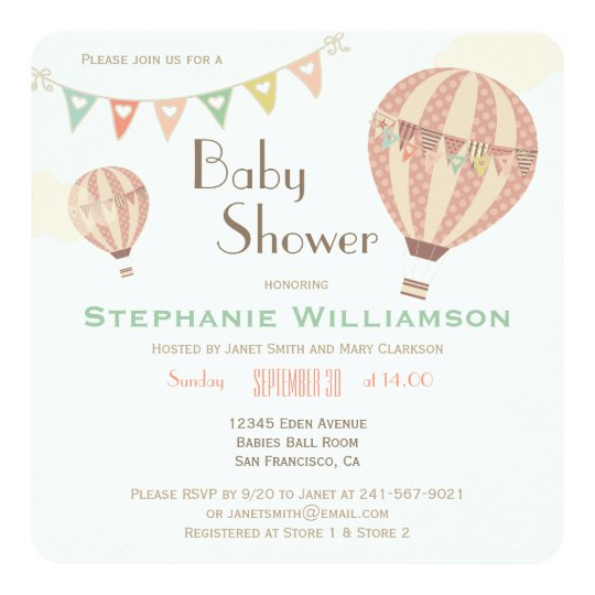 Cute Pastel Bunting U0026 Hot Air Balloons Baby Shower Card