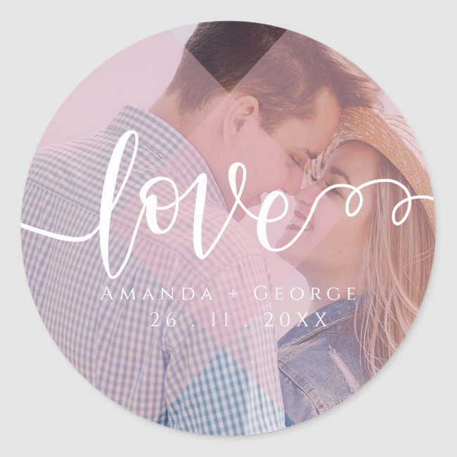 Cute Pastel Color | Love | Photo Classic Round Sticker