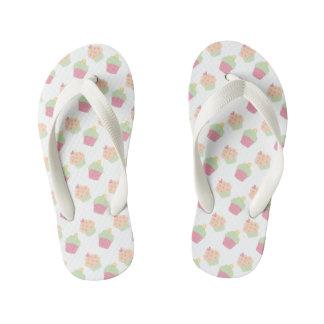 Cute Pastel Cupcake Pattern Kids Flip Flops