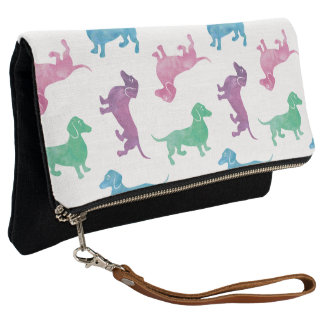 Cute Pastel Dachshund Pattern Clutch