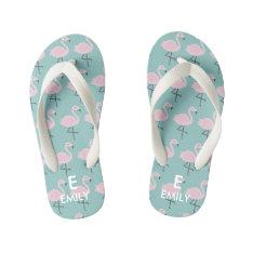 Cute Pastel Flamingo Initial Name Kids Flip Flops at Zazzle