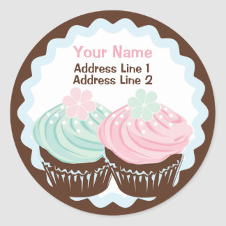 Cute Pastel Frosted Cupcake Address Label Classic Round Sticker