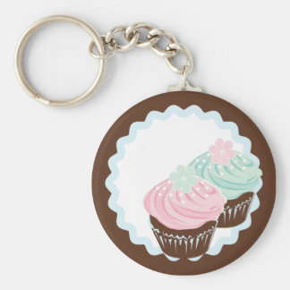 Cute Pastel Frosted Cupcakes Keychain