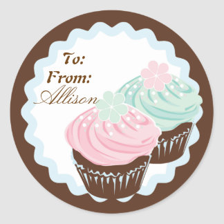 Cute Pastel Frosted Cupcakes Classic Round Sticker