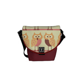 cute pastel girly owls in a row messenger bag