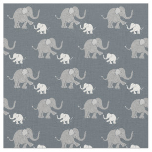 c15afe79c903 Cute Pastel Gray and White Baby Elephants Pattern Fabric
