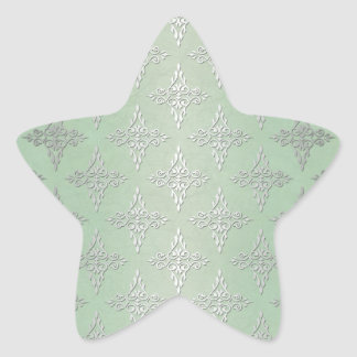 Cute Pastel Green and Silvery White Damask Star Sticker