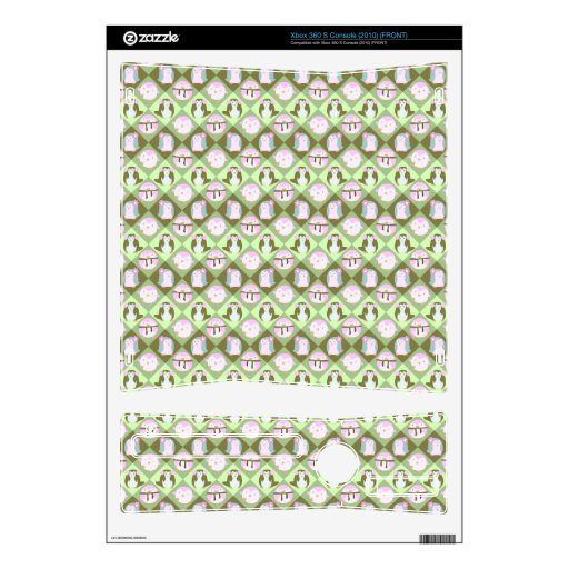 Cute Pastel Green Penguins Xbox 360 S Console Skin
