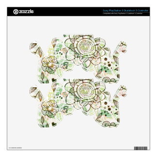 Cute Pastel Green Retro Flowers Pattern Skins For PS3 Controllers