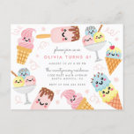 "Cute Pastel Ice-cream Kid's Birthday Party Invitation Postcard<br><div class=""desc"">Cute kid's birthday party invitation featuring a kawaii pastel ice-cream selection with soft pink confetti against a white background. Perfect for summer birthday celebrations.</div>"