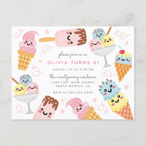 Cute Pastel Ice_cream Kids Birthday Party Invitation Postcard
