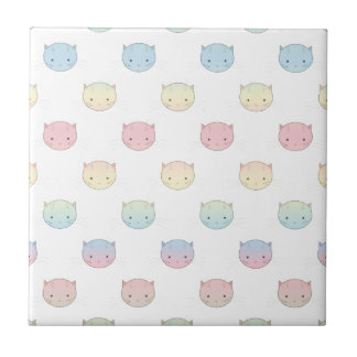 Cute Pastel Kitty Cat Faces Pattern Tile
