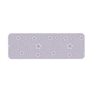 Cute Pastel Lavender Silver Cherry Blossom Pattern Label