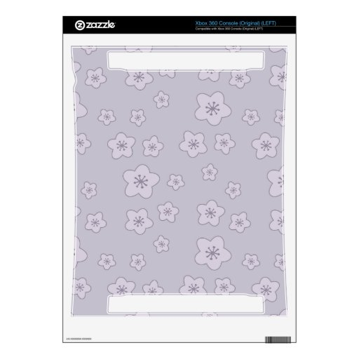 Cute Pastel Lavender Silver Cherry Blossom Pattern Xbox 360 Skin