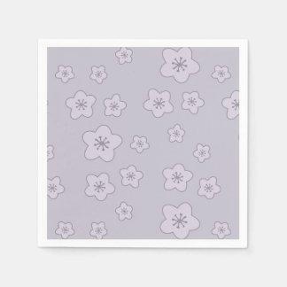 Cute Pastel Lavender Silver Cherry Blossom Pattern Paper Napkin
