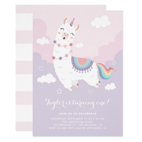 Cute Pastel Llama Unicorn First Birthday Party Invitation