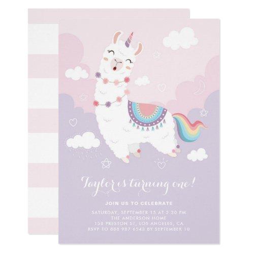 Cute Pastel Llama Unicorn First Birthday Party Invitation