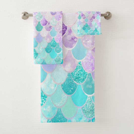 Cute Pastel Mermaid Bathroom Decor Towels