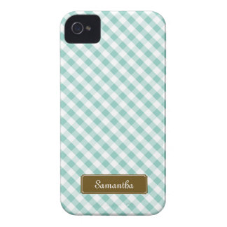 Cute Pastel Mint Gingham Pattern iPhone 4 Covers