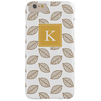 Cute Pastel Monogram Floral Leaves, Yellow Brown Barely There iPhone 6 Plus Case