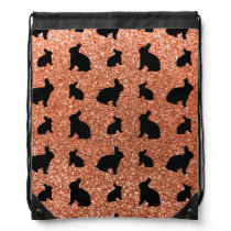 Cute pastel orange bunny glitter pattern drawstring bag