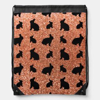 Cute pastel orange bunny glitter pattern backpacks