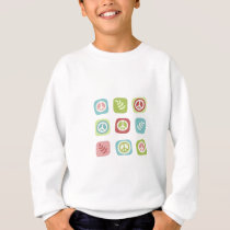 Cute pastel peace symbol pattern sweatshirt