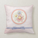 cute pastel pink and purple floral design pillows