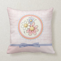 cute pastel pink and purple floral design throw pillow