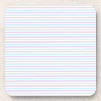 Cute Pastel Pink and Teal Stripes Girly Pattern Coaster