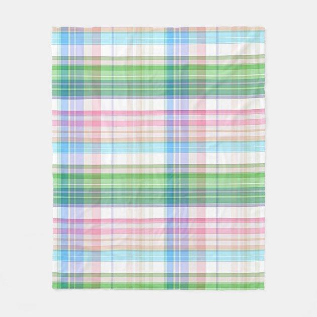 Cute Pastel Pink Blue Green Tartan Plaid Pattern Fleece ...