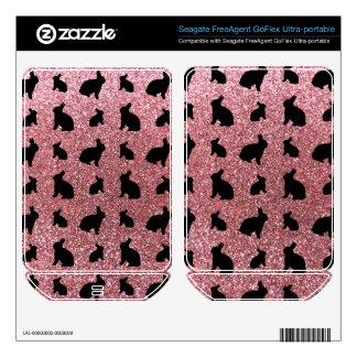 Cute pastel pink bunny glitter pattern FreeAgent GoFlex decal
