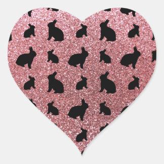 Cute pastel pink bunny glitter pattern sticker