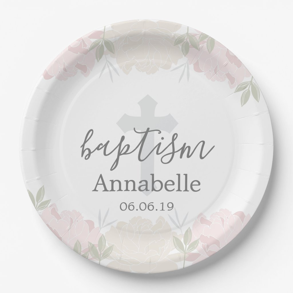Cute Pastel Pink Floral Baby Baptism Paper Plate