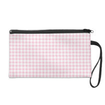 Cute Pastel Pink Gingham Check Pattern Wristlet
